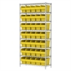 Wire Shelving Kit, 14x36x74, 40 Bin, Chrome/Yellow