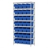 Akro-Mils Wire Shelving Kit, 14x36x74, 32 Bin, Chrome/Blue