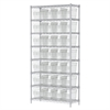 Akro-Mils Wire Shelving Kit, 14x36x74, 32 Bin, Chrome/Clear