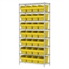 Wire Shelving Kit, 14x36x74, 32 Bin, Chrome/Yellow