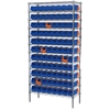 Akro-Mils Wire Shelving Kit, 14x36x74, 96 Bins, Chrome/Blue/Orange