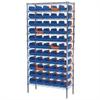 Akro-Mils Wire Shelving Kit, 14x36x74, 60 Bins, Chrome/Blue/Orange