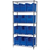Akro-Mils Wire Shelving Kit, 18x36x74, 12 Bins, Chrome/Blue