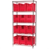 Wire Shelving Kit, 18x36x74, 12 Bins, Chrome/Red