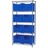 Wire Shelving Kit, 18x36x74, 8 Bins, Chrome/Blue