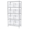 Akro-Mils Wire Shelving Kit, 18x36x74, 8 Bins, Chrome/Clear