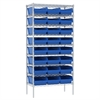 Wire Shelving Kit, 18x36x74, 24 Bins, Chrome/Blue