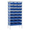 Akro-Mils Wire Shelving Kit, 18x36x74, 24 Bins, Chrome/Blue