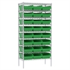 Akro-Mils Wire Shelving Kit, 18x36x74, 24 Bins, Chrome/Green