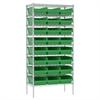 Wire Shelving Kit, 18x36x74, 24 Bins, Chrome/Green