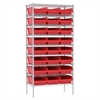Wire Shelving Kit, 18x36x74, 24 Bins, Chrome/Red