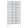 Wire Shelving Kit, 18x36x74, 24 Bins, Chrome/Clear