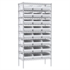 Akro-Mils Wire Shelving Kit, 18x36x74, 24 Bins, Chrome/White