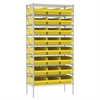 Wire Shelving Kit, 18x36x74, 24 Bins, Chrome/Yellow