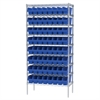 Wire Shelving Kit, 18x36x74, 64 Bins, Chrome/Blue
