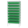 Wire Shelving Kit, 18x36x74, 64 Bins, Chrome/Green