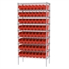 Wire Shelving Kit, 18x36x74, 64 Bins, Chrome/Red
