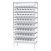 Akro-Mils Wire Shelving Kit, 18x36x74, 64 Bins, Chrome/White
