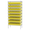 Wire Shelving Kit, 18x36x74, 64 Bins, Chrome/Yellow