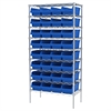 Wire Shelving Kit, 18x36x74, 32 Bins, Chrome/Blue