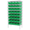 Akro-Mils Wire Shelving Kit, 18x36x74, 32 Bins, Chrome/Green