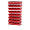 Akro-Mils Wire Shelving Kit, 18x36x74, 32 Bins, Chrome/Red