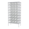 Akro-Mils Wire Shelving Kit, 18x36x74, 32 Bins, Chrome/Clear