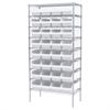 Wire Shelving Kit, 18x36x74, 32 Bins, Chrome/White