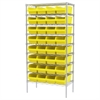 Wire Shelving Kit, 18x36x74, 32 Bins, Chrome/Yellow