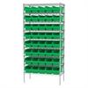 Wire Shelving Kit, 18x36x74, 40 Bins, Chrome/Green