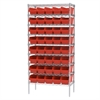 Wire Shelving Kit, 18x36x74, 40 Bins, Chrome/Red