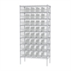 Akro-Mils Wire Shelving Kit, 18x36x74, 40 Bins, Chrome/Clear