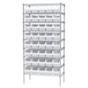 Wire Shelving Kit, 18x36x74, 40 Bins, Chrome/White