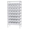Akro-Mils Wire Shelving Kit, 18x36x74, 40 Bins, Chrome/White
