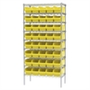 Wire Shelving Kit, 18x36x74, 40 Bins, Chrome/Yellow