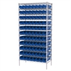 Wire Shelving Kit, 18x36x74, 96 Bins, Chrome/Blue