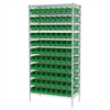 Wire Shelving Kit, 18x36x74, 96 Bins, Chrome/Green