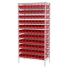 Wire Shelving Kit, 18x36x74, 96 Bins, Chrome/Red