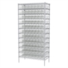 Wire Shelving Kit, 18x36x74, 96 Bins, Chrome/Clear