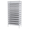Wire Shelving Kit, 18x36x74, 96 Bins, Chrome/White