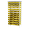 Wire Shelving Kit, 18x36x74, 96 Bins, Chrome/Yellow