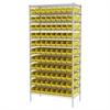 Akro-Mils Wire Shelving Kit, 18x36x74, 96 Bins, Chrome/Yellow