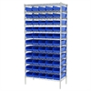 Wire Shelving Kit, 18x36x74, 60 Bins, Chrome/Blue