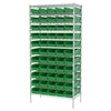 Akro-Mils Wire Shelving Kit, 18x36x74, 60 Bins, Chrome/Green
