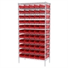 Wire Shelving Kit, 18x36x74, 60 Bins, Chrome/Red