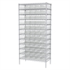 Wire Shelving Kit, 18x36x74, 60 Bins, Chrome/Clear