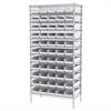 Wire Shelving Kit, 18x36x74, 60 Bins, Chrome/White