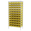 Akro-Mils Wire Shelving Kit, 18x36x74, 60 Bins, Chrome/Yellow