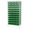 Akro-Mils Wire Shelving Kit, 18x36x74, 48 Bins, Chrome/Green