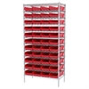Wire Shelving Kit, 18x36x74, 48 Bins, Chrome/Red